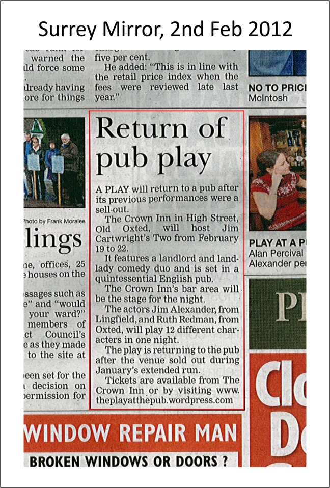 The Play at teh Pub - Surrey Mirror - Feb 12